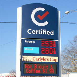 Certified Gas exterior reader board sign