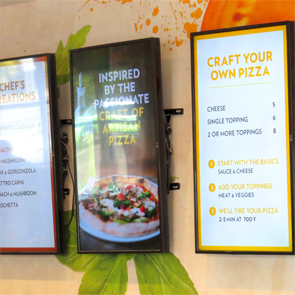 Pizza Cucinova interior digital menu boards