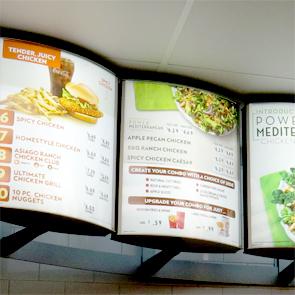Wendy's interior illuminated menu boards