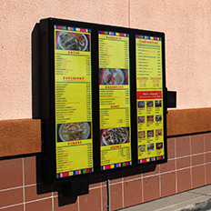 exterior menu board wall mount