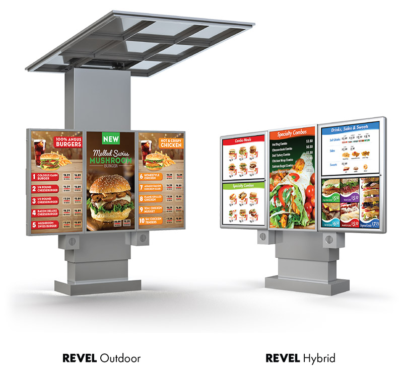 Revel Hybrid menuboard solutions from National Sign Systems